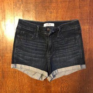 Hollister High-waisted Shorts (Dark Wash)